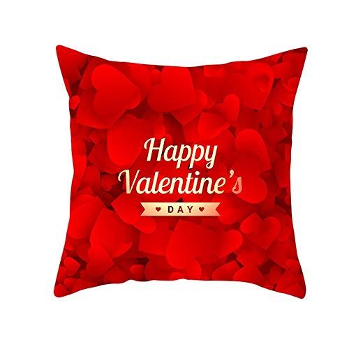 Fundas de Cojines Funda de Cojín San Valentín corazón rojo amor Cojines Decor Terciopelo Suave Fundas de Almohada Cuadrado para Sofá Sillas Coche Dormitorio Decorativo Hogar M1767 Pillowcase,60x60cm