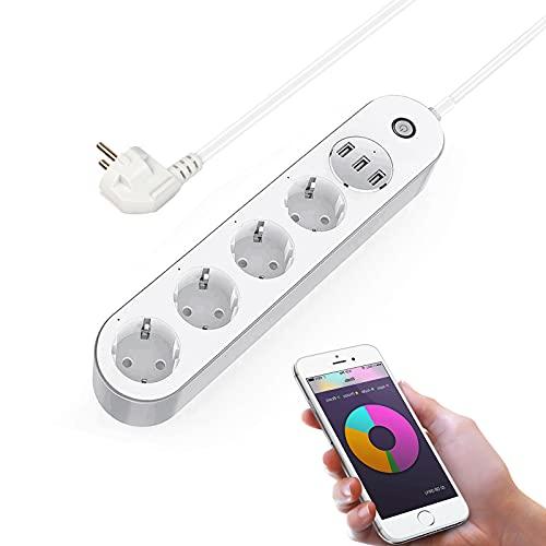 Regleta inteligente, Wellwerks Múltiple enchufe wifi con 4 Tomas y 3 USB, Smart Power Strip APP Control y Función de Temporización, compatible con Alexa,Google home, SmartThings y Homekit