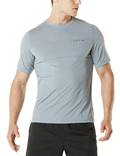 Tesla TM-MTS04-LGY_Medium Men's HyperDri Short Sleeve T-Shirt Athletic Cool Running Top MTS04