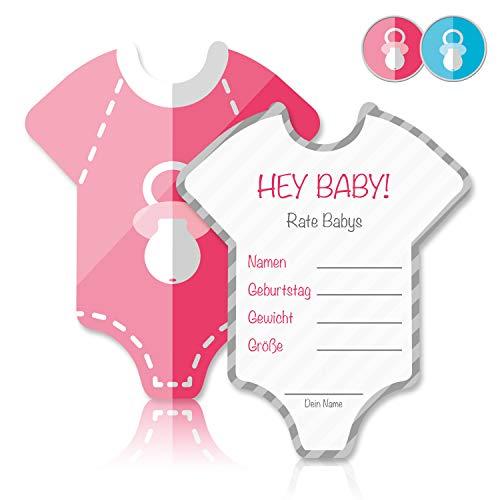 Mia Félice Babyparty Baby Shower Spiel-Set 8 Stück Babybody mädchen rosa pink Partyspiel Quiz Spiel Einladungskarten Deko Party Andenken Einladung Karte Geschenk Artikel