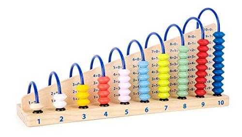 Small Foot 10843 Rechenschleife Educate aus Holz mit Holzperlen und Rechenaufgaben für Kinder Spielzeug