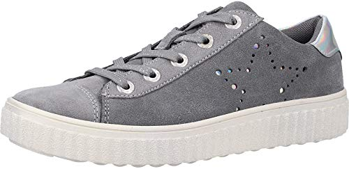 Lurchi Mädchen Nelia Sneaker, Weiß (Grey 25), 36 EU