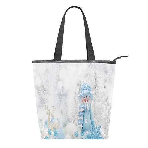 Bolsa de Lona para Mujer con diseño de muñeco de Nieve, Copo de Nieve, Grande, para Escuela, Libro, para Llevar al Hombro, para IR de Compras, a la Playa, Viajes, al Gimnasio, Uso Diario