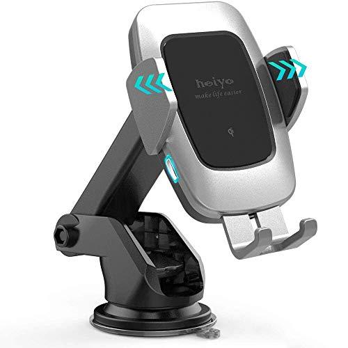 Cargador Inalámbrico Coche Carga Rápida, Qi Wireless Car Charger Soporte Móvil, 10W para Samsung S10/S10 +/Note 9/ s9/ s9 +/ s8/ s8 +/ Note 8, 7.5W para iPhone 8/8 + /X/XS/XS MAX/XR, 5W Qi-Enabled