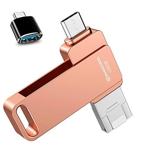 Memorias USB 128GB Smartphone USB 3.0 Unidad Memoria Flash,PHICOOL USB Flash Pen Drive Compatible con iPhone,OTG Android y USB C Android Samsung/Huawei/ONEPLUS,Mac Computadora Portátil - Rosa