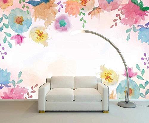 Hermoso papel tapiz de flores de acuarela rosa Papel tapiz no tejido Mural de efecto 3D Pared Pintado Papel tapiz 3D Decoración dormitorio Fotomural sala sofá mural-430cm×300cm