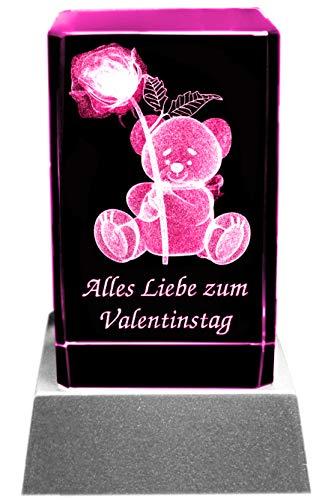 Kaltner Präsente Stimmungslicht – Ein ganz besonderes Geschenk: LED Kerze / Kristall Glasblock / 3D-Laser-Gravur Valentin Motiv Teddy ZUM VALENTINSTAG