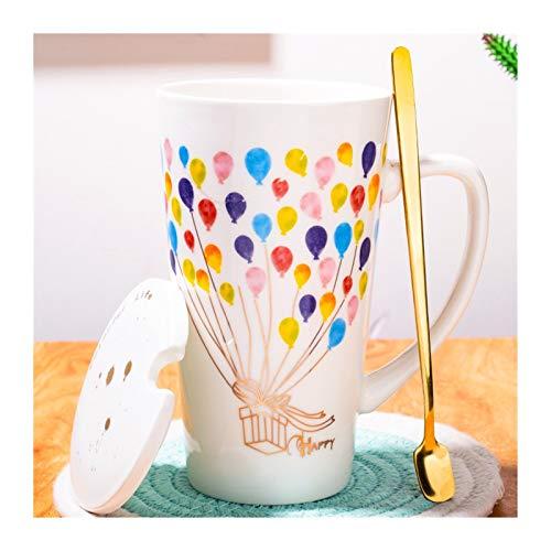 Without Becher Espresso-Tassen Glas Cup Cup Keramik 500 ml Kaffeetasse Kreative Waldstern Kunst Muster Tasse Milch Tassen mit Deckel Löffel Home Getränk Liebhaber Geschenk Hochzeitsgeschenk