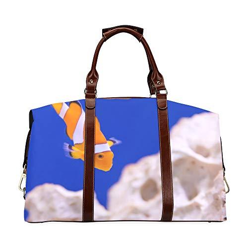 Beiläufige Einkaufstasche Anemone Animal Aquarium Clownfisch Marine Ocean Classic Übergroße wasserdichte Pu-Leder-Beiläufige Einkaufstasche Reisetasche im Freien