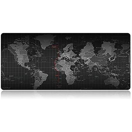 Tech Stor3 Tappetino XL Mappa del Mondo Gaming Mouse Pad, 70 x 30 cm, World Map con Base Antiscivolo in Gomma Naturale, Aderente e Liscio, Adatta ad Ogni Mouse, Tastiera e Laptop (70x30, Mappa Mondo)
