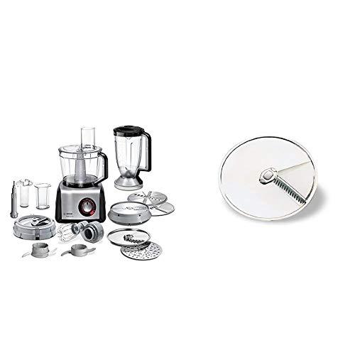 Bosch MC812M865 MultiTalent Kompakt-Küchenmaschine, 1250 W, XXL-Rührschüssel 3.9 l, Würfelschneider, schwarz/Edelstahl gebürstet & MUZ45AG1 Asia-Gemüse-Scheibe aus Edelstahl