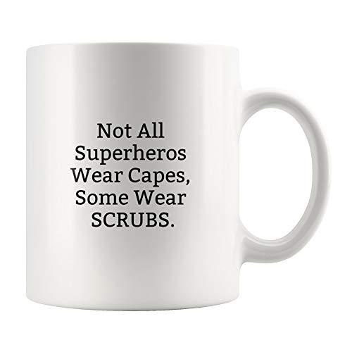 Lplpol No todos los superhéroes capa de desgaste, algunos scrubs – regalo divertido médico, médico médico, regalo enfermera, regalo para médicos – idea de regalo para médicos – Taza de médico cirujano
