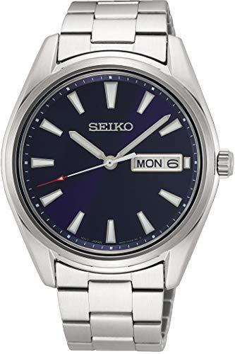 Seiko Herren Analog Japanischer Quarz Uhr mit Edelstahl Armband SUR341P1