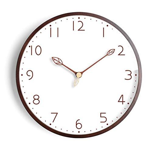 YULAN Gráficos nórdica Reloj de Pared Creativo de Pared Sala de Estar Inicio IKEA Relojes Simple Reloj del Arte de la Personalidad de Madera Maciza Silencio (Color : Brown, Size : 16 Inches)