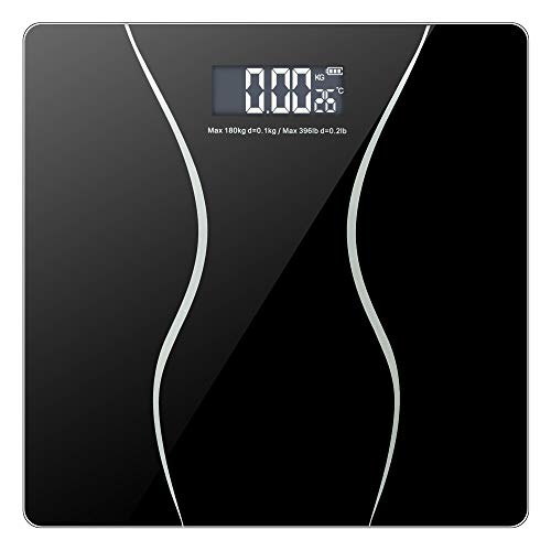 """Smart Digital Body Weight Bathroom Scale with Backlit Shine Through Display and Step-On Technology, 180Kg/396 lbs Capacity and Accurate Weight Measurements (11.00"""" x 11.00"""" x 1"""", Black)"""