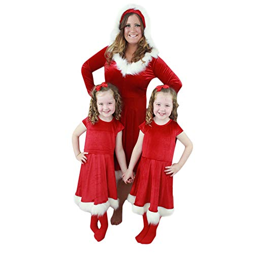 Franterd Christmas Dress for Mom &Me Family Matching Dresses Parent- Child Xmas Hot Red Velvet Clothes Sets