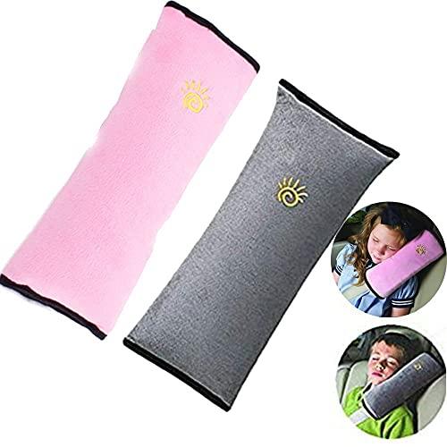 JFAN Guaine per Cintura di Sicurezza Cuscino Cintura Auto Cuscino Supporto per La Testa Accessori Seggiolini Auto per Bambini Proteggi Testa E Collo Universale Viaggio Tinta Unita Due Pezzi