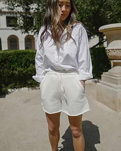 The Drop Women's Whisper White Raw-Edge Hem Shorts by @spreadfashion