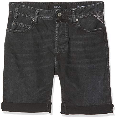 Replay Herren RBJ.901 Shorts, Schwarz (Black Delavè 998), 40 (Herstellergröße: 28)