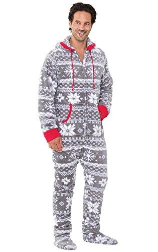 Pajamagram Onesie For Men - Christmas Onesie Men, Gray, XXL