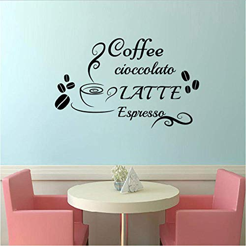 Coffee Chocolate Milk Italian Wall Sticker DIY Home Decor Vinyl Cup Beans Kitchen Wall Decals Waterproof 58X40Cm