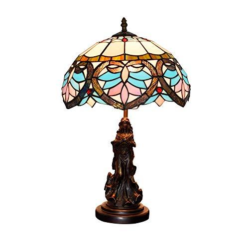BINGFANG-W dormitorio 12' El vidrio coloreado turística LampEuropean retro mediterránea creativa Sala Comedor Dormitorio de noche contador barra de luz de la lámpara de interior Lámparas de mesa Lámpa