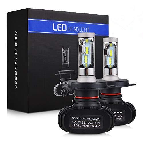 H2Racing H4 LED Ampoules de Phare Lampes Tout-en-Un kit de Conversion sans Canbus,6000K 8000LM/Pair 9003 HB2 Feux de Brouillard Remplacer l'halogène HID Xenon