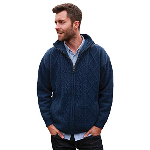 Mens Wool Sweater, 100% Pure Irish Wool, Made in Ireland, Blue, Large