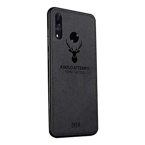 Yoodi Capa para Huawei Honor 8X Max, capa de tecido macia de poliuretano termoplástico com absorção de choque [arte de cabeça de veado] capa híbrida antiderrapante para Huawei Honor 8X Max - preta