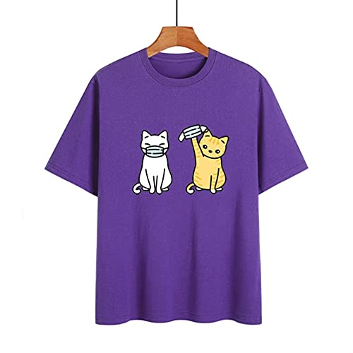 LXHcool Funny T-Shirt Cat Wearing a mask Coron_avirus I Survived Cov_id 19 T-Shirt Woman (Color : Purple, Size : Large)