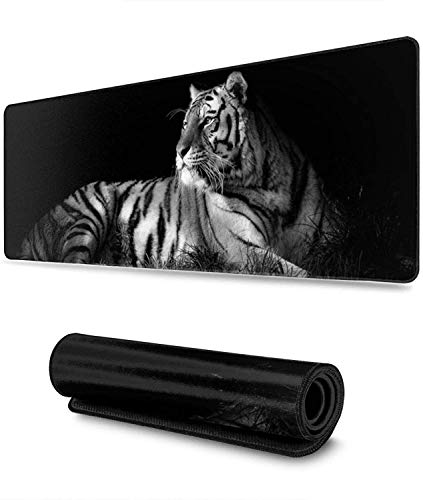 Black and White Tiger Gaming Mouse Pad XL,Extended Large Mouse Mat Desk Pad, Stitched Edges Mousepad,Long Non-Slip Rubber Base Mice Pad,31.5X11.8 Inch