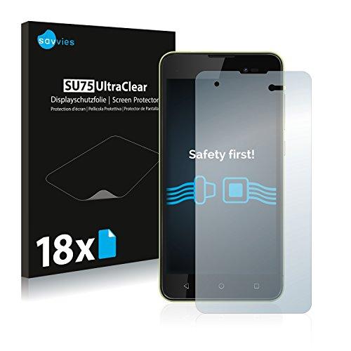 Savvies 18x Schutzfolie kompatibel mit Wiko Sunny 2 Plus Bildschirmschutz-Folie Ultra-transparent