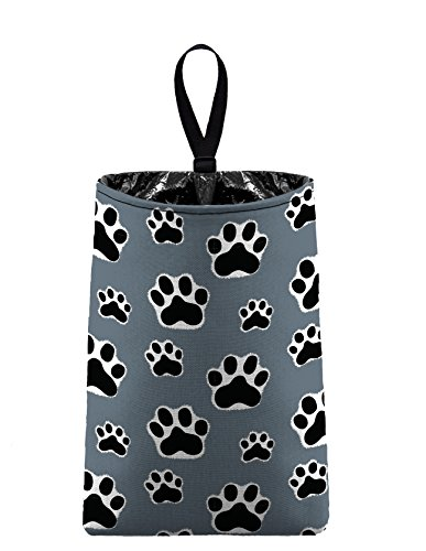 The Mod Mobile Auto Trash (Paw Print - grey) by car trash bag litter bag garbage can for your automobile Dog Cat Pet