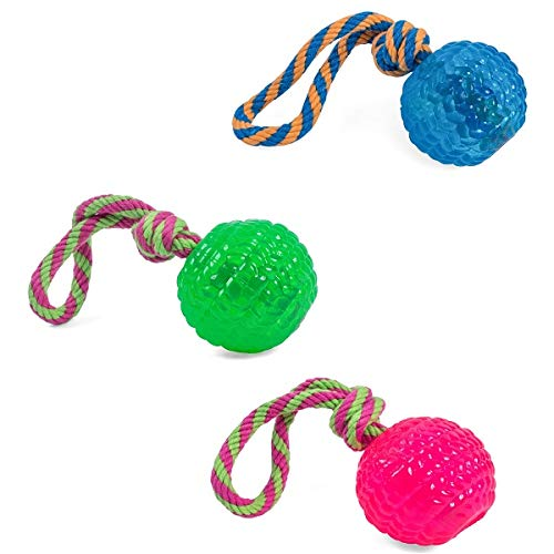 Petface Toyz Chew and Bouncy Rope Ball for Dog, Blue/Pink/Green, One Supplied