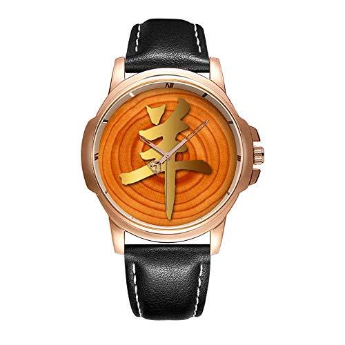 Personality Mode wasserdichte Herren-Armbanduhr Analoges Quarzlederband Mit Gold-287.2015 Year of The Ram Sheep or Goat - Watch