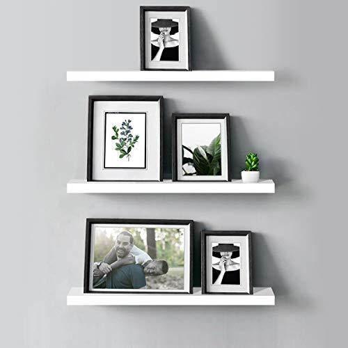AIMU Set mit 3 schwebenden Wandregalen, Holzregalen für die Wand, Heimaufbewahrung, Organizer-Regal, Ausstellungsregale mit unsichtbaren Halterungen, weiß.