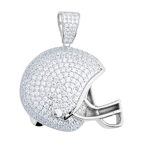 Premium Bling - 925 Sterling Silber Football Helm Anhänger