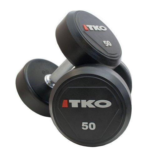 TKO - 2 mancuernas par 40 kg, uretano cabezas revestidas, de acero sólido toreinforced, pesos, gimnasio, ejercicio, entrenamiento, gimnasio, entrenamiento de fuerza, protección, bíceps,  Talla:34KG ⭐