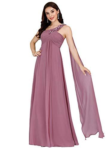 Ever-Pretty Vestidos Invitada Boda Largo Corte Imperio Escote a un Hombro Plisado...