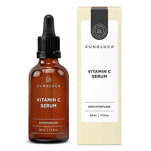 Junglück Vitamin C Serum für Gesicht und Haut I 50 ml Vitamin C hochdosiert I Feuchtigkeitspflege auf Bio Aloe Vera Basis I Natürliches Gesichtsserum Made in Germany