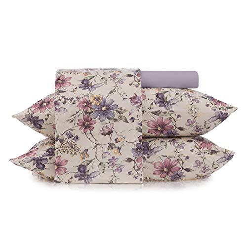 Jogo de roupa de cama In Cotton - King Altenburg In Cotton Lilás King Pacote de 4 Malha 100% algodão