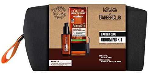 L'Oréal Men Expert Barber Club Grooming Kit mit Bartöl und Duschgel + Gratis Washbag, 630 g