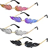4 Pairs Fire Flame Sunglasses Rimless Flame Shaped Sun Glasses Wave Fire Shaped Glasses for Women Men Party Supplies Photo Props, 4 Colors (Silver, Purple, Gray and Pink)