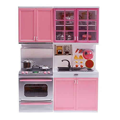 Asffdhley Juego de Cocina para niños Little Kitchen Set de Juego Cocinar Juguetes Set de rol La imaginación de Cocina Juego de los niños con el Regalo Efectos de Sonido Rosa para niños y niñas