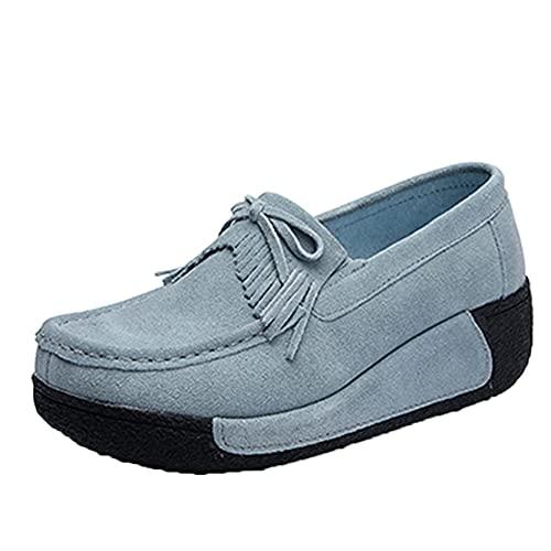 DJiess Ladies Platform Schuhe Daily Casual Slip On Dicke Sohle Tragbare Quaste Comfort Wedge Platform Creepers Schuhe Daily Walking