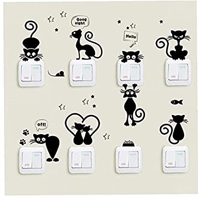 Onsinic Cartoon Cat Light Switch Phone Wall Stickers for Kids Children Room Diy Home Decoration Animals Wall Decals Pvc Mural Art