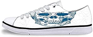 Skull Soft Low Top Canvas ShoesCool Skull Icon on Parchement Background Retro Style Dead on Eagle Wings Gothic for Women,US 5