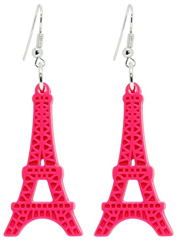 Bluebubble LOVE PARIS Hot Pink Eiffel Tower Dangle Earrings With FREE Gift Box