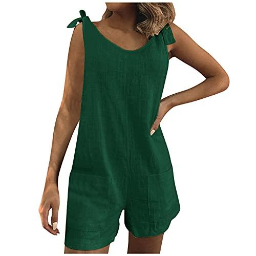 Pantalones Mujer Bohemia de Verano para Cintura Casual Fluidos Elastica Holgado Lino Algodon Bolsillos Mamelucos Playsuit Cortos Pantalones