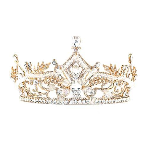 JJZXD Rose Tiaras Boda del Oro y Coronas for Las Mujeres, Rhinestone Tiara Cascos de Cristal de Las Mujeres Accesorios for el Cabello